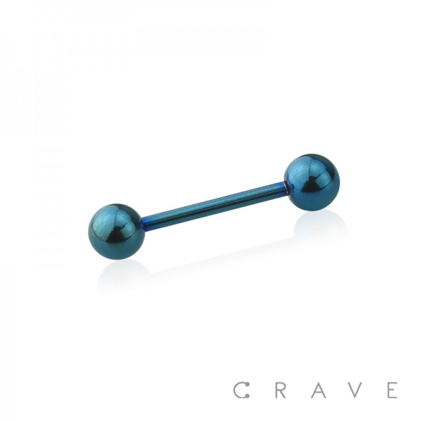 DARK BLUE PVD PLATED OVER 316L SURGICAL STEEL BARBELLS WITH BALLS