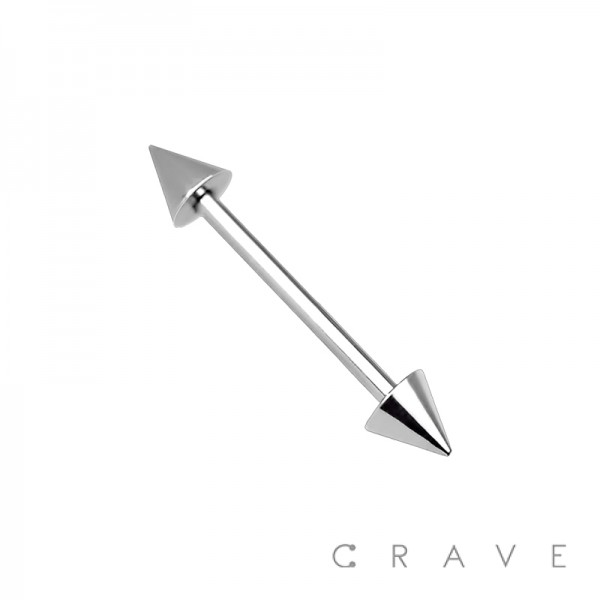 BASIC 316L STAINLESS STEEL BARBELL WITH SPIKES