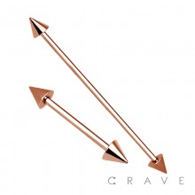 ROSE GOLD PVD OVER 316L SURGICAL STEEL BARBELL WITH SPIKE