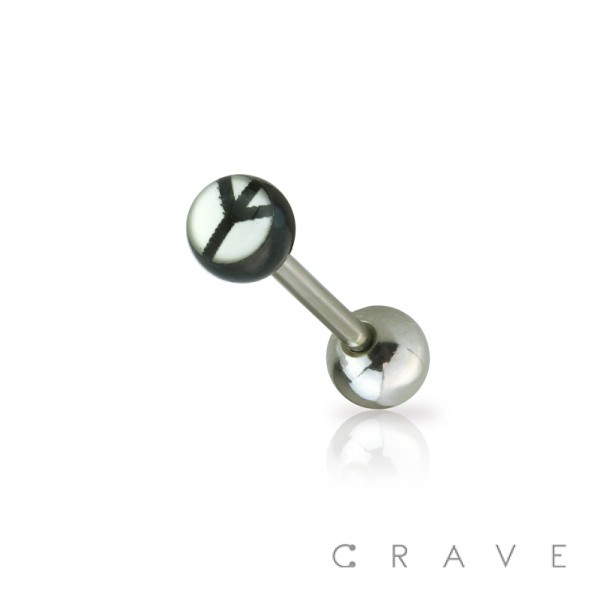 316L SURGICAL STEEL STRAIGHT BARBELL W/ EPOXY DOME BLACK AND WHITE PEACE SIGN LOGO BALL