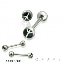 316L SURGICAL STEEL STRAIGHT BARBELL W/ DOUBLE EPOXY WHITE PEACE SIGN IN BLACK DOME BALLS