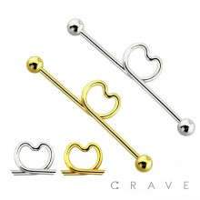 316L SURGICAL STEEL HEART INDUSTRIAL BARBELL WITH BALLS