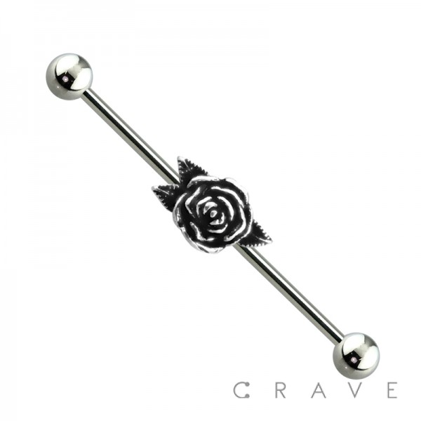 316L SURGICAL STEEL BURNISHED SILVER ROSE INDUSTRIAL BARBELL