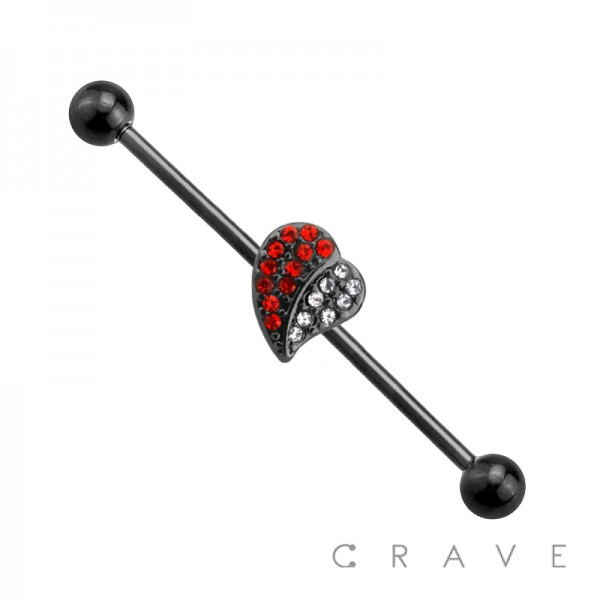 316L SURGICAL STEEL RED & WHITE GEM HEART BLACK INDUSTRIAL BARBELL