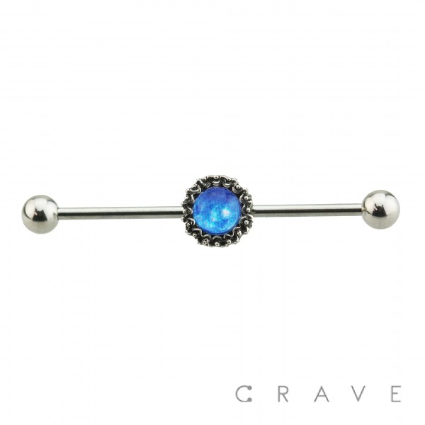 CENTERED BLUE EPOXY DOME 316L SURGICAL STEEL INDUSTRIAL BARBELL
