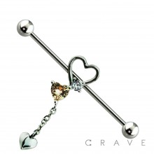 316L SURGICAL STEEL DANGLE THREE HEART GEM INDUSTRIAL BARBELL