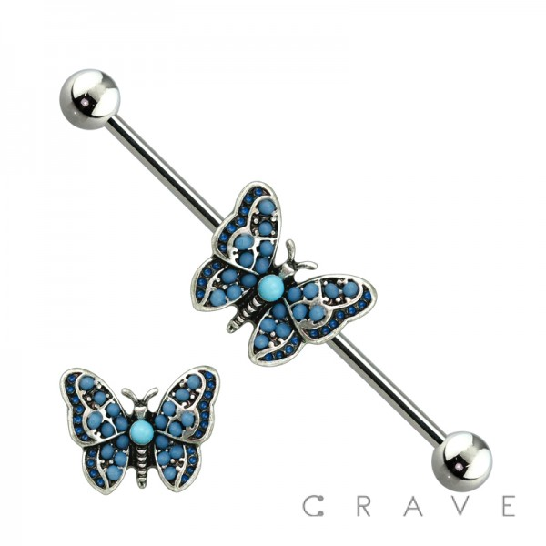 MULTI BLUE BEAD ANTIQUE SILVER BUTTERFLY 316L SURGICAL STEEL INDUSTRIAL BARBELL