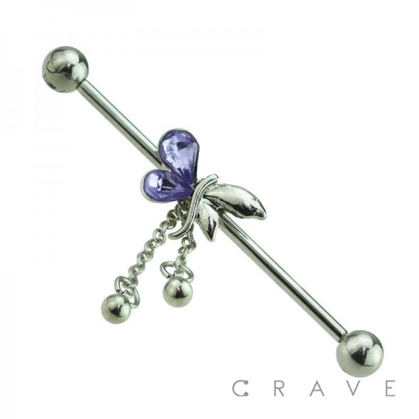 BUTTERFLY DANGLE 316L SURGICAL STEEL INDUSTRIAL BARBELL