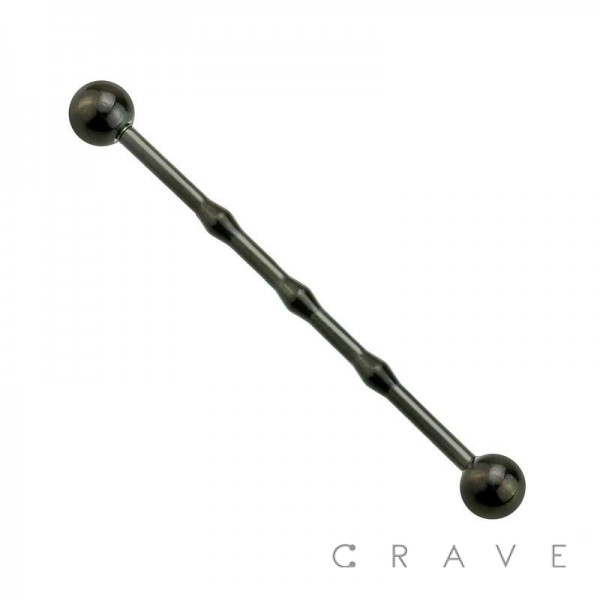 IP PLATED 316L SURGICAL STEEL INDUSTRIAL BARBELL MEDIUM DIAMETER WITH 3 KNOT