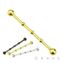 IP PLATED 316L SURGICAL STEEL INDUSTRIAL BARBELL SMALL DIAMETER WITH 3 KNOT