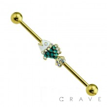 GEM SCALED FISH CENTER GOLD PLATED 316L SURGICAL STEEL INDUSTRIAL BARBELL