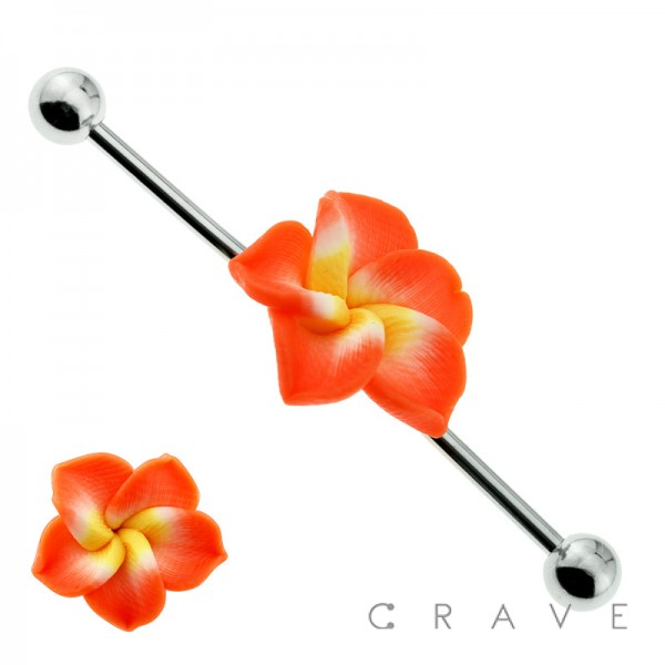 316L SURGICAL STEEL KAWAII FLOWER CENTER INDUSTRIAL BARBELL WITH BALLS