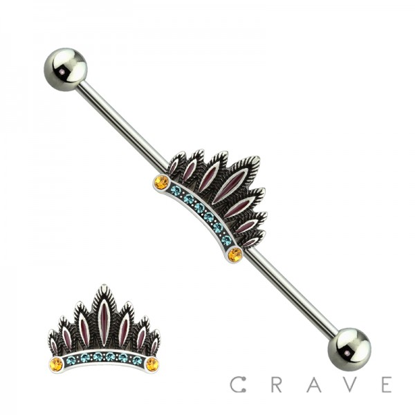 316L SURGICAL STEEL MULTI GEM FEATHER CROWN INDUSTRIAL BARBELL