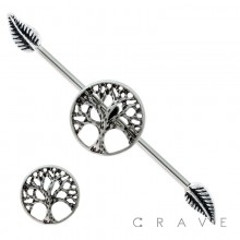 316L SURGICAL STEEL CELTIC TREE OF LIFE INDUSTRIAL BARBELL WITH LEAVES