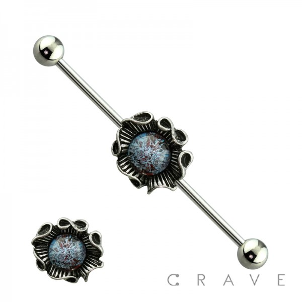 ACRYLIC STONE CENTERED FLOWER INDUSTRIAL BARBELL