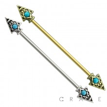 316L SURGICAL STEEL TURQUOISE STONE TRIBAL SPEAR INDUSTRIAL BARBELL