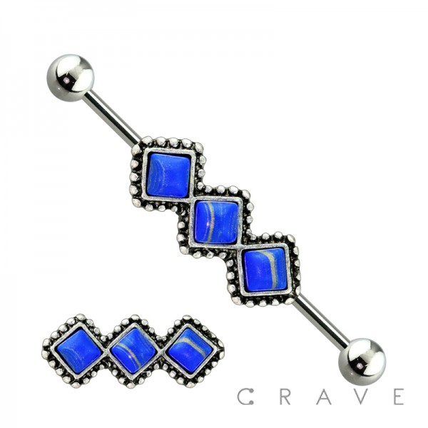 TRIPLE TURQUOISE STONE SQUARE LINK 316L SURGICAL STEEL INDUSTRIAL BABELL