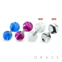 316L SURGICAL STEEL BARBELL WITH UV MARBLE SWIRL DESIGN ACRYLIC BALL