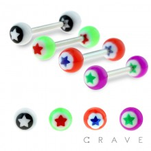 316L SURGICAL STEEL BARBELL WITH ALL ACRYLIC STAR INLAY BALL