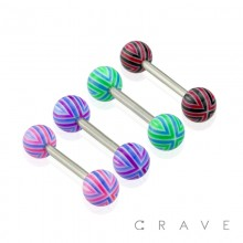 316L SURGICAL STEEL BARBELL WITH STRIPED ACRYLIC BALL