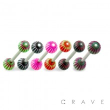 316L SURGICAL STEEL BARBELL WITH OPTIC STRIPES DESIGN ACRYLIC BALL