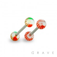 316L SURGICAL STEEL BARBELL WITH UV STRIPED MARBLE DESIGN ACRYLIC BALL