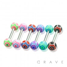 316L SURGICAL STEEL BARBELL WITH COBWEB DESIGN ACRYLIC BALL