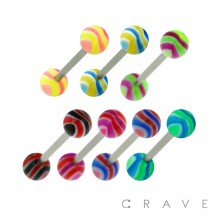 316L SURGICAL STEEL BARBELL WITH MARBLE STRIPE DESIGN ACRYLIC BALL