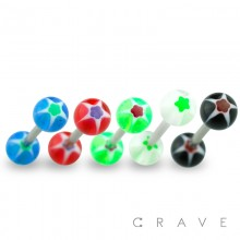 316L SURGICAL STEEL BARBELL WITH UV GLITTER STAR DESIGN ACRYLIC BALL