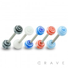 316L SURGICAL STEEL BARBELL WITH SPIRAL DESIGN ACRYLIC BALL