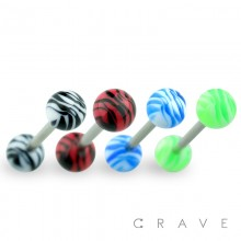 316L SURGICAL STEEL BARBELL WITH TIGER STRIPE DESIGN ACRYLIC BALL