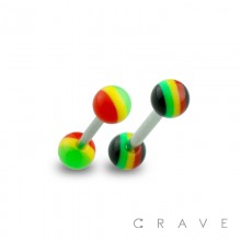 316L SURGICAL STEEL BARBELL WITH RASTA STRIPE DESIGN ACRYLIC BALL