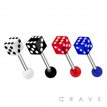 ACRYLIC DICE END 316L SURGICAL STEEL BARBELL