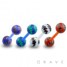 BIO-FLEX BARBELL WITH TRIBAL ARROW DESIGN ACRYLIC BALL