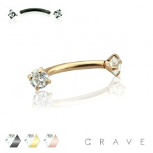 COLOR PLATED INTERNALLY THREADED CLEAR CZ PRONG SET 316L SURGICAL STEEL EYEBROW/ CURVED BARBELL