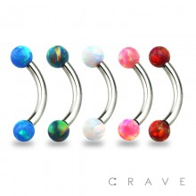 316L SURGICAL STEEL INTERNALLY THREADED CURVED EYEBROW BARBELL WITH SYNTHETIC OPAL