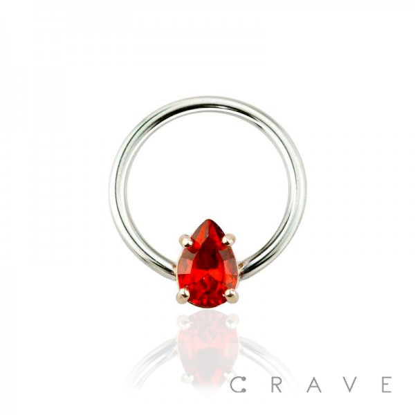 TEARDROP RUBY RED GOLD ACCENT PRONG SET CAPTIVE BEAD RING
