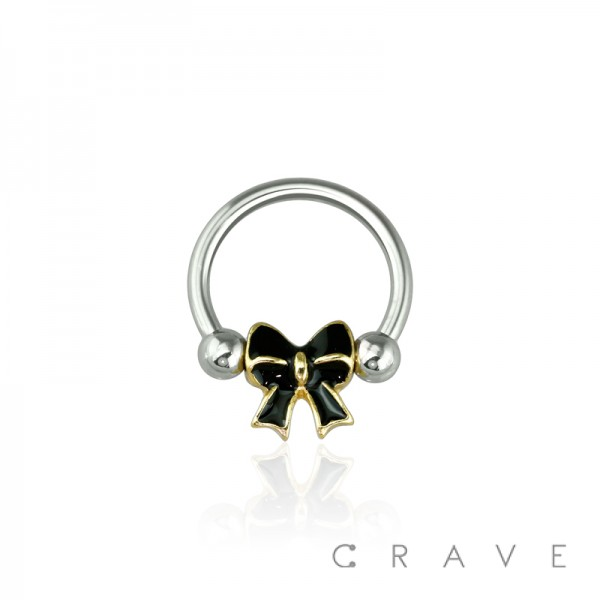 EPOXY GOLD TRIM BOW 316L SURGICAL STEEL CAPTIVE BEAD RING