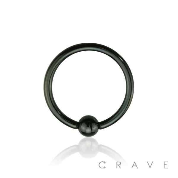 BLACK PVD PLATED CAPTIVE BEAD RING OVER 316L SURGICAL STEEL