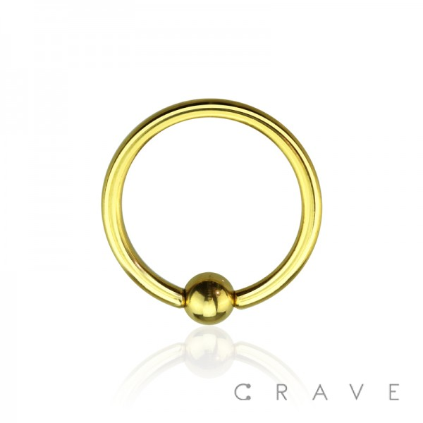 GOLD PVD PLATED CAPTIVE BEAD RING OVER 316L SURGICAL STEEL