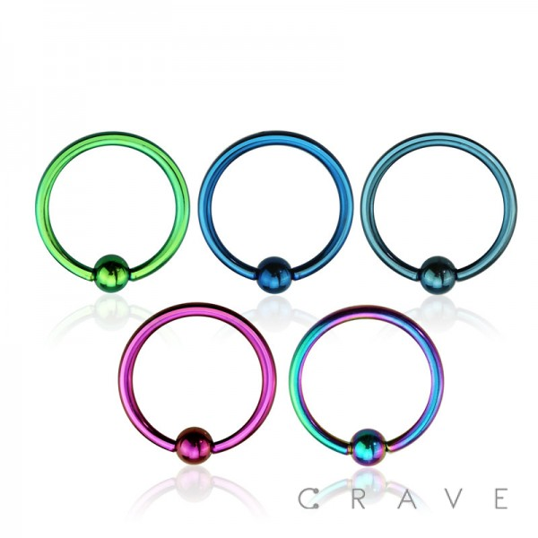 COLOR PVD PLATED 316L SURGICAL STEEL CAPTIVE BEAD RING (16GA)