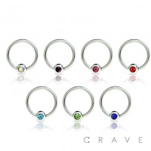 316L SURGICAL STEEL CAPTIVE BEAD RING WITH PRESS FIT GEM