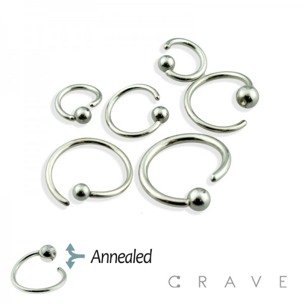 316L SURGICAL STEEL FIXED BALL CAPTIVE BEAD RING