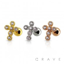 316L SURGICAL STEEL CARTILAGE BARBELL WITH GEM PAVED BUBBLE CROSS