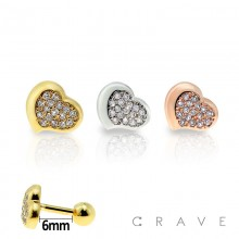 316L SURGICAL STAINLESS STEEL CARTILAGE BARBELL WITH GEM HEART