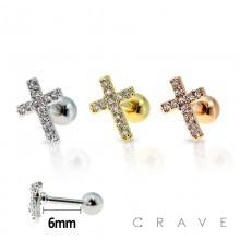 316L SURGICAL STEEL CARTILAGE BARBELL WITH GEM PAVED CROSS