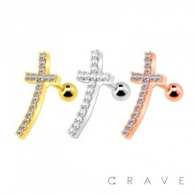 316L SURGICAL STEEL CARTILAGE BARBELL WITH GEM PAVED CROSS TOP