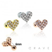 316L SURGICAL STAINLESS STEEL CARTILAGE BARBELL WITH HEART TOP