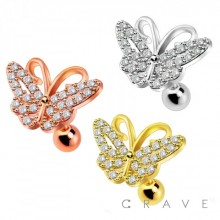 316L SURGICAL STEEL CARTILAGE BARBELL WITH GEM PAVED BUTTERFLY