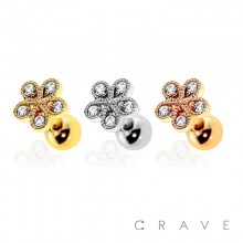 316L SURGICAL STAINLESS STEEL CARTILAGE BARBELL WITH TEAR DROP FLOWER